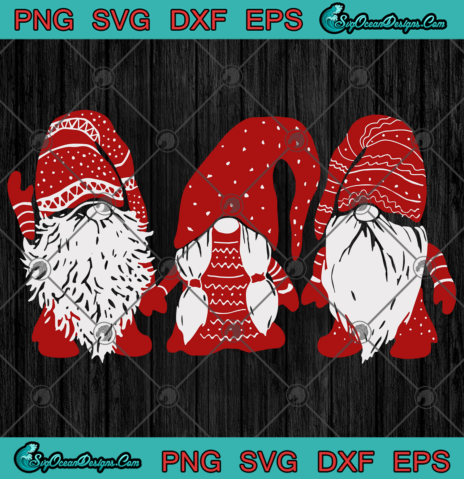 Download Three red Gnomes Santa Gnomies Christmas Svg Png Eps Dxf ...