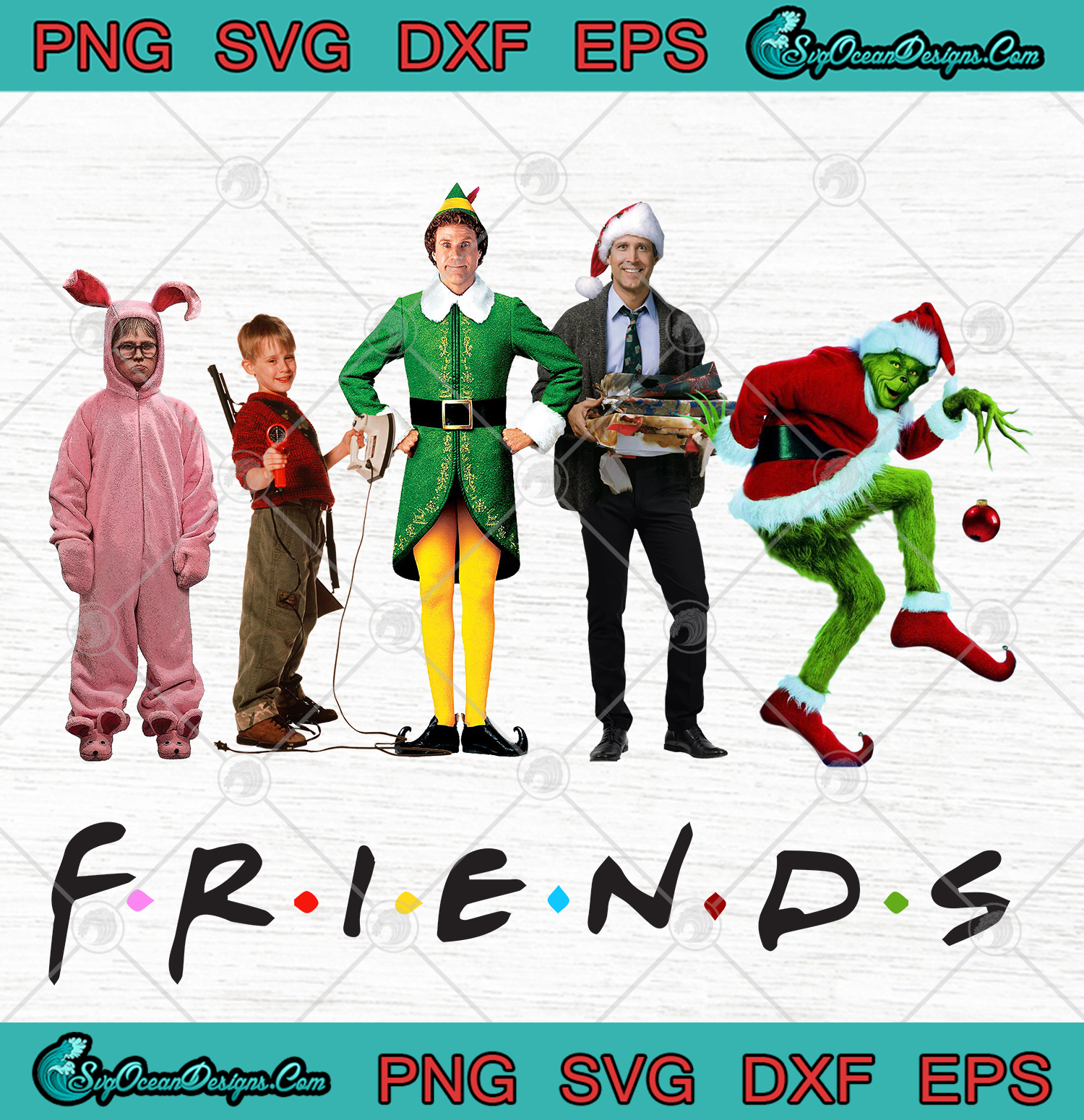 FRIENDS Christmas Movie Characters SVG PNG EPS DXF ... (1500 x 1550 Pixel)