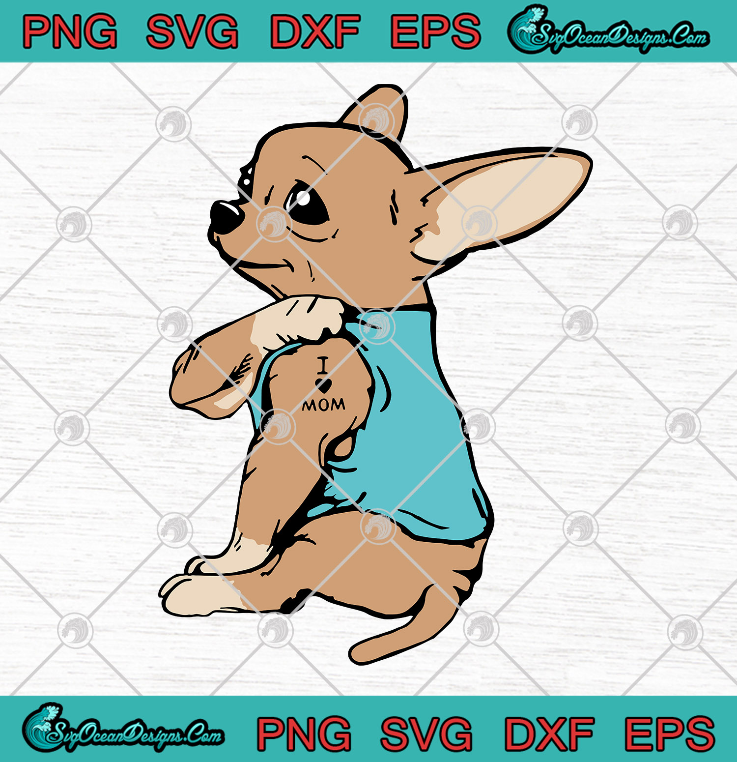 Download Dogs Chihuahua Tattoos I Love Mom SVG PNG EPS DXF Vector ...