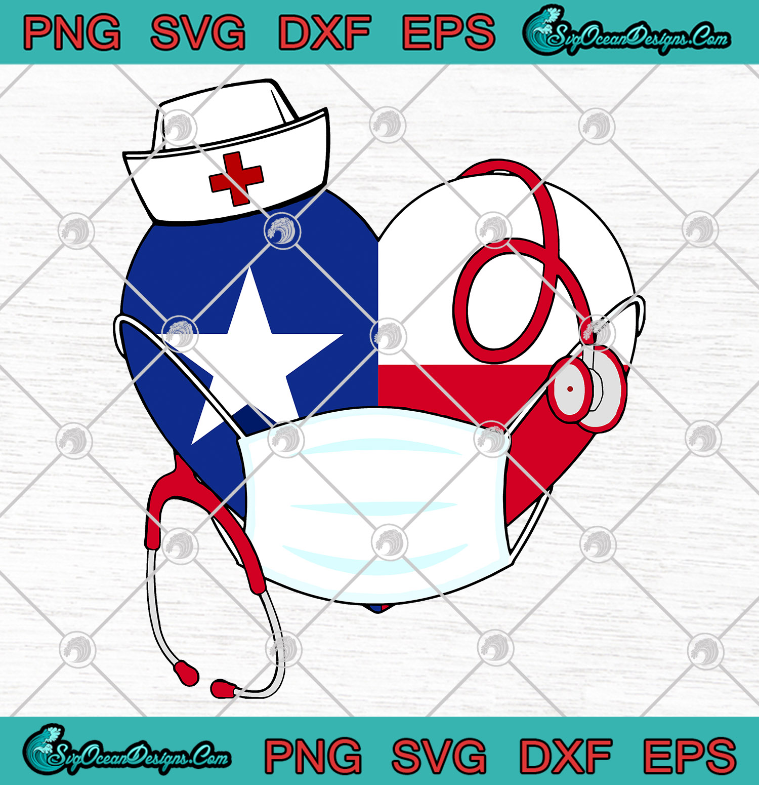 Heart Texas Stethoscope Nurse Face Mask Svg Png Texas Strong Cutting File Cricut Silhouette Art Designs Digital Download