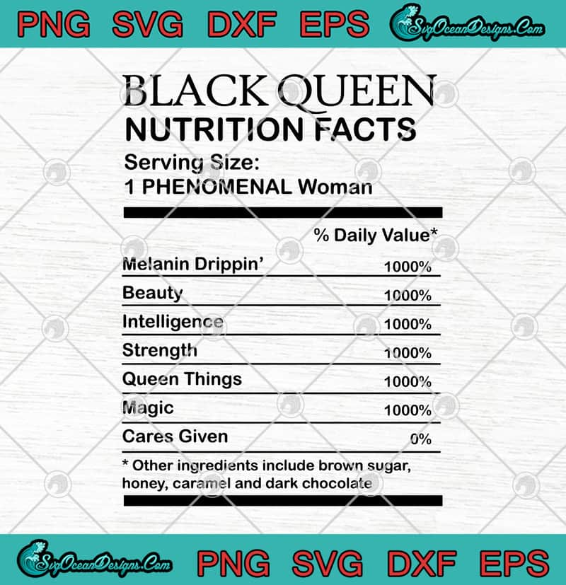 Download Black Queen Nutrition Facts SVG PNG EPS DXF - Black Woman ...