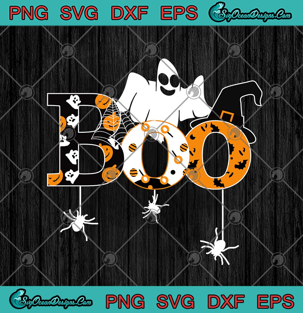 Boo Ghost Spider Bat And Witch Hat Funny Halloween Svg Png Eps Dxf Halloween Cricut File Silhouette Art Designs Digital Download
